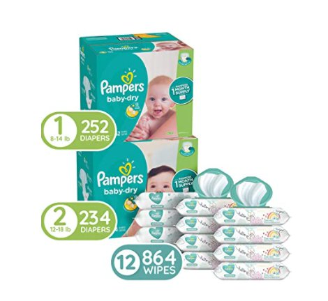 252Pcs Size1 & 234Pcs Size 2 Pampers Baby Diapers and 12 Pop-Top Packs Baby Wipes for $99.33 Shipped! (Reg. Price $124.33)