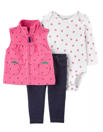 Carter's 3 Pieces Baby Girls Strawberry Little Vest Set for $19.20 (Reg. Price $32.00)